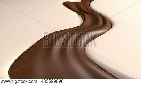 3d Illustration, 3d Rendering, Of Wave Of Dark Chocolate Or Cocoa Splash, Caramel Background, Abstra