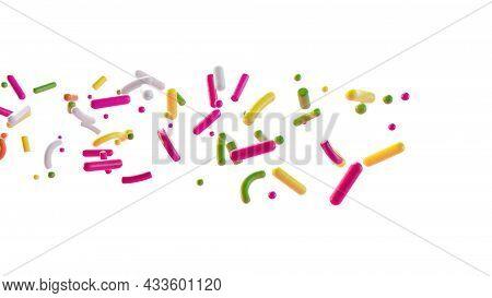 Sprinkles Coming From Left Side 3d Illustration Isolated On White Background 3d Illustration, 3d Ren