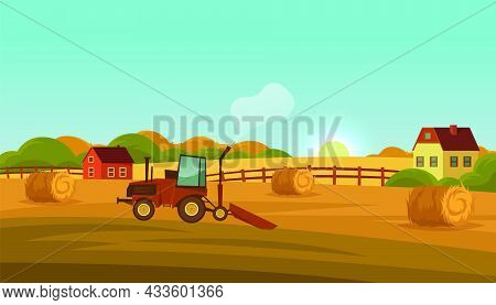 Farm Land Or Countryside Landscape, Vector Banner
