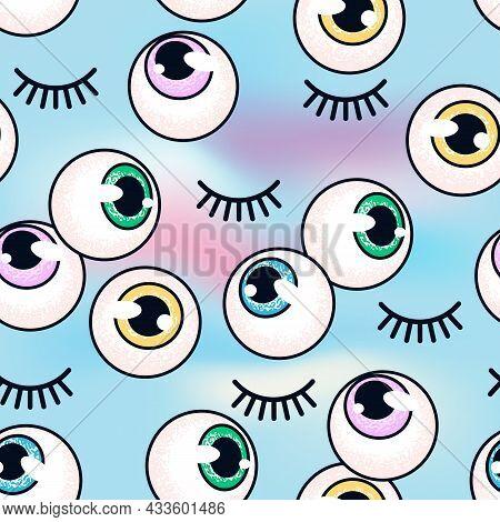 Undefinedpattern With Eyeballs On A Holographic Background. Eyes And Eyelashes. Fashion Background.