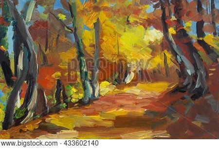 Oil Painting Of A Colorful Autumn Landscape. An Original Illustration Of A Beech Forest In Autumn. I