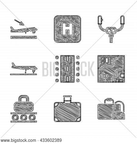 Set Airport Runway, Suitcase, World Travel Map, Conveyor Belt With Suitcase, Plane, Aircraft Steerin