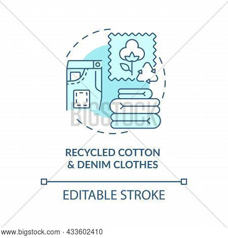 Recycled Cotton, Denim Materials Concept Icon. Recycling Of Garbage. Nature, Environment Protection