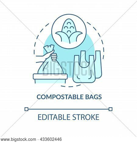 Biodegradable Bags Concept Icon. Nature Protection. Ecogically Friendly, Compostable Products Abstra