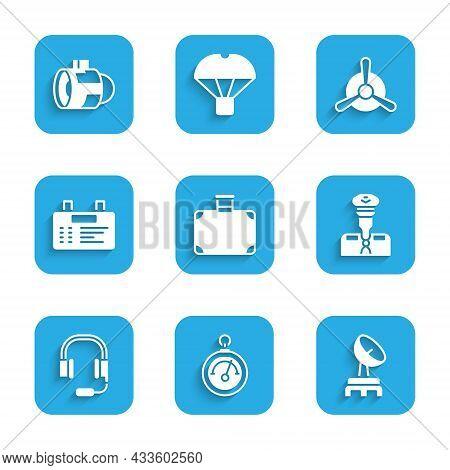 Set Suitcase, Barometer, Radar, Pilot, Headphones With Microphone, Airport Board, Plane Propeller An