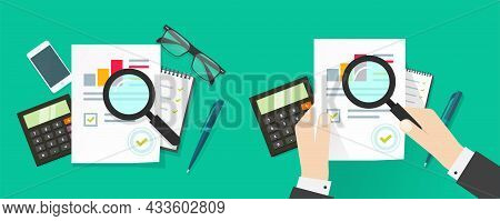 Auditor Person Man Research Or Analyse Sales Report With Review Inspection Sales Chart Graphs Statis