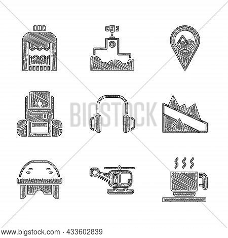 Set Winter Headphones, Rescue Helicopter, Hot Chocolate Cup, Mountain Descent, Hockey Helmet, Hiking