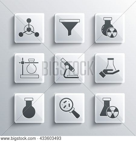 Set Microorganisms Under Magnifier, Test Tube Radiation, And Flask, Microscope, Stand, Molecule And