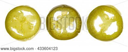 Pickled Jalapeno Pepper, Isolated On White Background. Slices Of Preserved Hot Serrano. Close Up. To