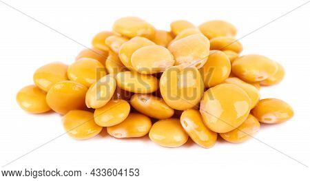 Pickled Yellow Lupine Beans Isolated On White Background. Tournus, Preserved Lupinus.