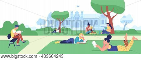 Campus Reading Books. College Students Preparing For Classes In Park. Boys And Girls Studying Outdoo
