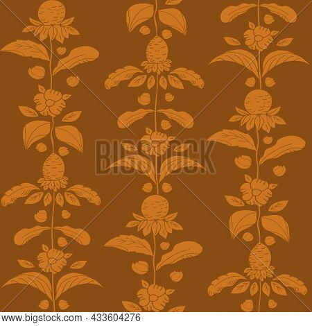 Earthy Ochre Brown Wild Meadow Flower Seamless Vector Pattern. Arts And Crafts Style Sea Holly Flowe