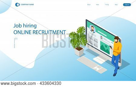 Isometric Hiring And Recruitment Concept For Web Page, Banner, Presentation. Job Interview, Recruitm