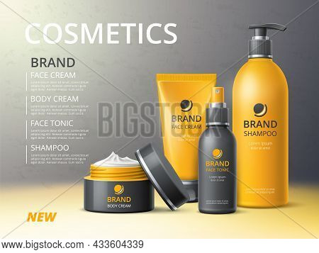 Cosmetics Bottles Poster. Skin And Hair Care Beauty Products, Realistic Objects 3d Mockup, Cream, Sh