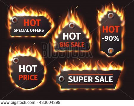 Flame Hot Sale Labels. Burning Discount Stickers, Different Shapes Flaming Effect Banners, Badges Wi