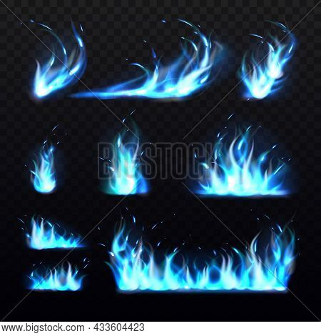 Blue Flames. Realistic Cold Burning Effects, 3d Magic Fires, Carbon Monoxide Gas Colored Flame, Diff