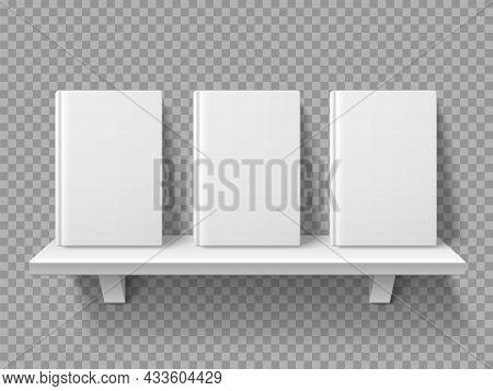 Bookshelf Books. Realistic Book Volumes Stand On Shelf, Blank Mockup, Bookstore Front Presentation,