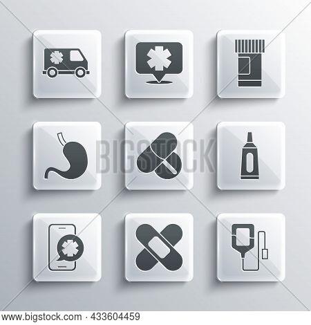 Set Crossed Bandage Plaster, Iv Bag, Ointment Cream Tube Medicine, Medicine Pill Or Tablet, Emergenc