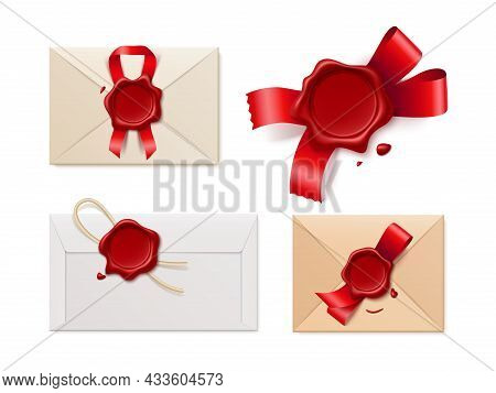 Envelopes Seal Wax. Realistic Different Postal Paper Envelopes, Red Empty Stamps, Satin Ribbons And