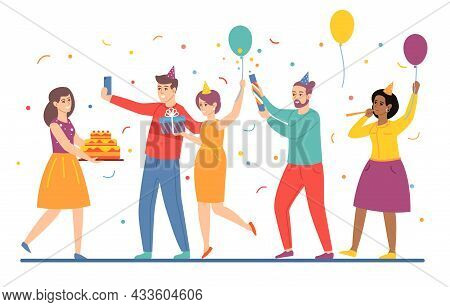 People Give Gifts For Birthday. Cartoon Men And Women Celebrate Holiday Together. Girl With Festive