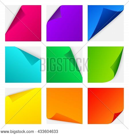 Color Paper Curl Stickers. Realistic Bright Pages For Notes With Curving Corners, Different Colors P