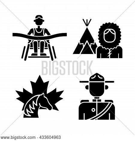 People Of Canada Black Glyph Icons Set On White Space. Famous Para Athletes. Mounted Police Uniform.