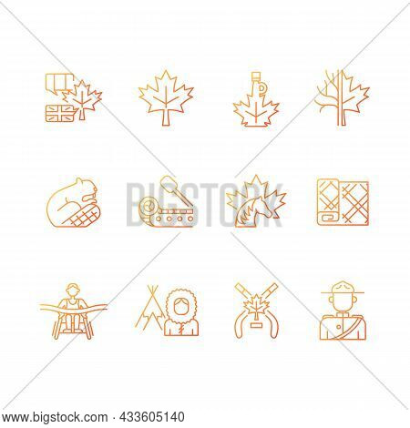 Canadian Symbols Gradient Linear Vector Icons Set. Official Canadian Emblem. North American Beaver.