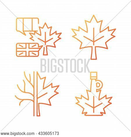 Maple Leaf Significance Gradient Linear Vector Icons Set. National Emblem Of Canada. Maple Leaf Symb