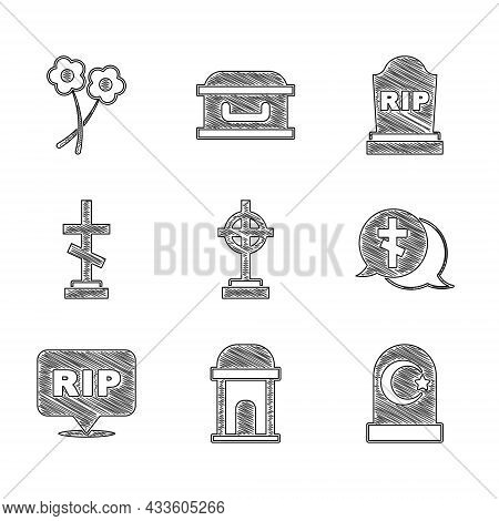 Set Grave With Cross, Old Crypt, Muslim Cemetery, Speech Bubble Rip Death, Tombstone Rip Written And