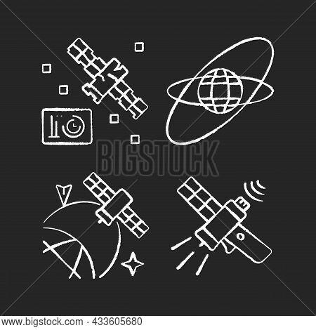Satellites In Space Chalk White Icons Set On Dark Background. Science Spacecraft Location, Positioni