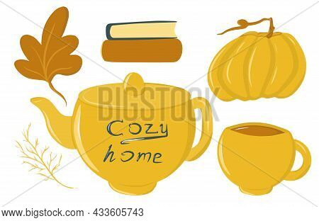 Autumn Cozy Collection Of Elements, Set With Mug And Teapot, Pumpkin, Pumpkin Drink, Autumn Leaves,