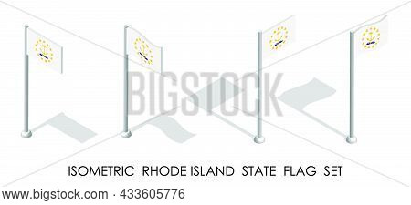 Isometric Flag Of American State Of Rhode Island In Static Position And In Motion On Flagpole. 3d Ve