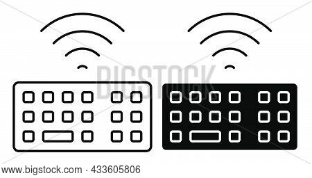 Linear Icon. Wifi Personal Computer Keyboard. Symbols On Keyboard Buttons. Simple Black And White Ve