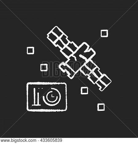 Satellite Condition Chalk White Icon On Dark Background. Artifial Satelite Breakdown In Outer Space