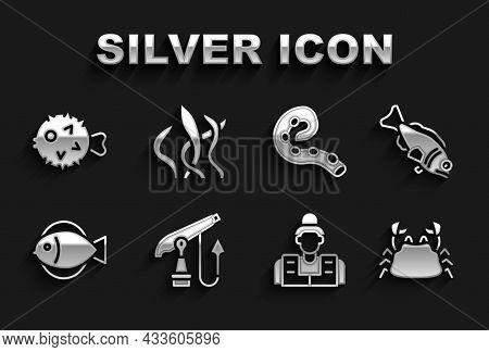 Set Fishing Harpoon, Crab, Fisherman, Octopus Of Tentacle, Hedgehog And Seaweed Icon. Vector