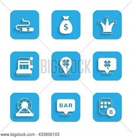 Set Casino Slot Machine With Clover, Alcohol Bar Location, Lottery Ball Bingo Card, Slot, Joker Play