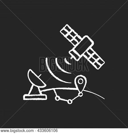 Global Positioning System Chalk White Icon On Dark Background. Artificial Satellite-based Radionavig