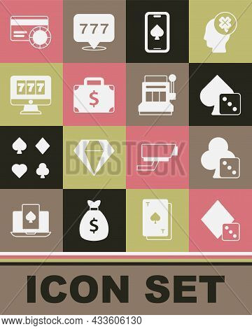 Set Game Dice, Online Poker Table Game, Briefcase And Money, Slot Machine With Jackpot, Credit Card