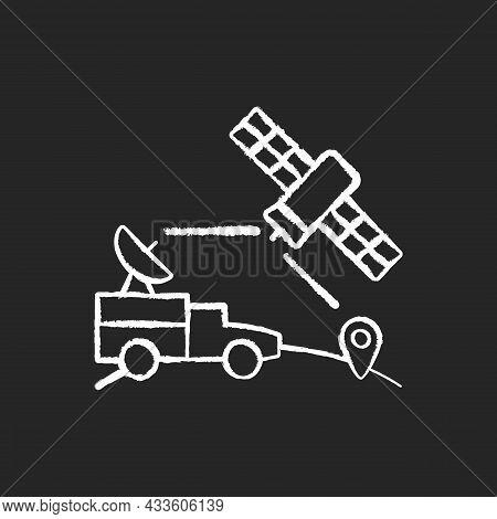 Military Use Of Satellites Chalk White Icon On Dark Background. Signal Receiving Dish Satelite. Mili