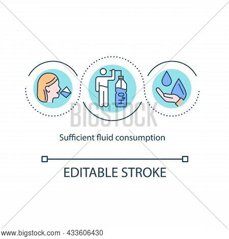Sufficient Fluid Consumption Concept Icon. Daily Amount Of Water Recommendation. Hydration Abstract