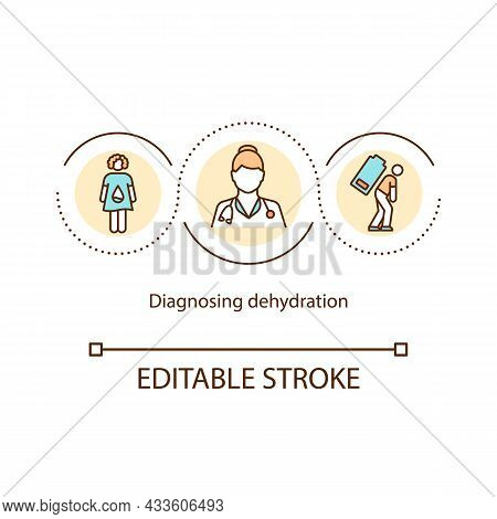 Diagnosing Dehydration Concept Icon. Doctor Appointment. Blood And Urine Tests. Body Water Loss Symp