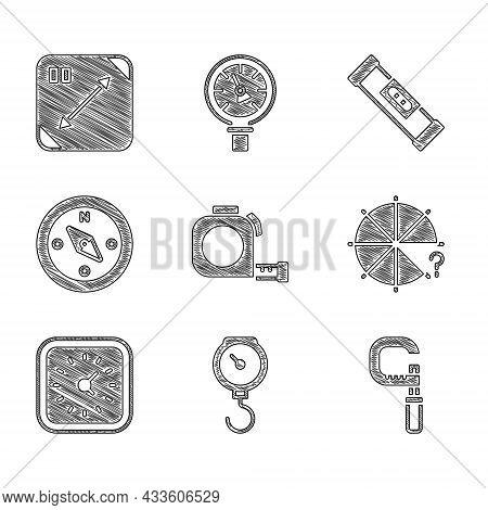 Set Roulette Construction, Hand Scale Spring Mechanical, Micrometer, Circle Of Pieces, Clock, Compas