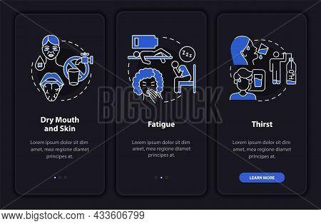 Dehydration Symptoms Dark Onboarding Mobile App Page Screen. Fluid Loss Walkthrough 3 Steps Graphic