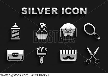 Set Shaving Brush, Hand Mirror, Scissors Hairdresser, Hairbrush, Blade Razor, Mustache Beard, Barber