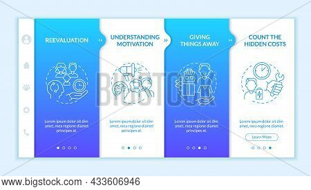 Challenging Consumerism Blue Gradient Onboarding Vector Template. Responsive Mobile Website With Ico