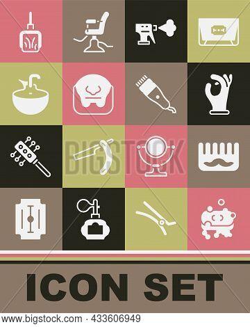 Set Bar Of Soap With Foam, Hairbrush, Medical Rubber Gloves, Hairdresser Pistol Spray Bottle, Mustac