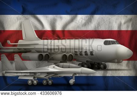 Air Forces On The Costa Rica Flag Background. Costa Rica Air Forces Concept. 3d Illustration