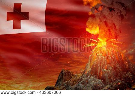 Conical Volcano Eruption At Night With Explosion On Tonga Flag Background, Problems Of Eruption And