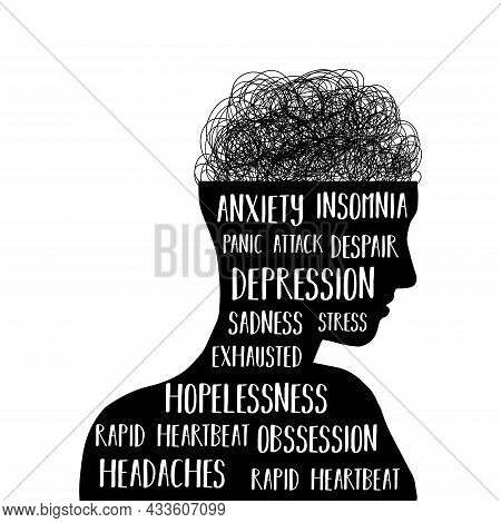 Mental Health Awareness. Man With Different Mental Problems