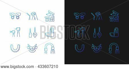 Dental Visit Gradient Icons Set For Dark And Light Mode. Orthodontic Appliances. Tooth Extraction. T